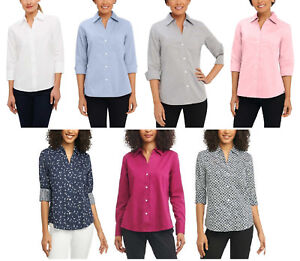 NEW Foxcroft NYC Women#x27;s Easy Care Non Iron Stretch Poplin Button Front Shirt
