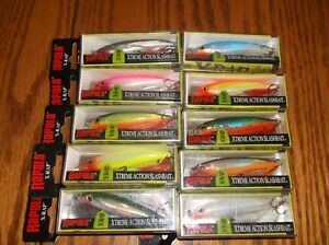 RAPALA X-RAP-06's--lot of 10 DIFFERENT COLORED-FISHING LURES-XR06
