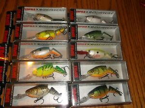 RAPALA JOINTED SHAD RAP 05's--lot of 10 DIFFERENT COLORED-FISHING LURES-JSR05