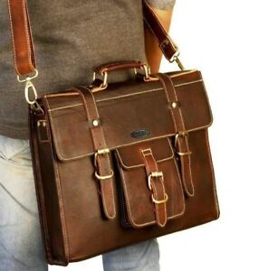 Genuine Leather Handmade Travel Bag For Men and Women With Laptop Compartment