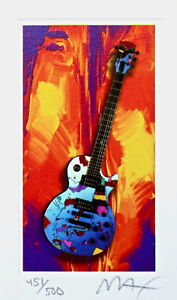 Rock N' Roll Guitar III, Limited Edition Lithograph Mini, Peter Max SIGNED w/COA