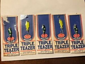 Lot of 5 Shoff's Triple Teazer Spoon fishing lures Vintage Stock Sealed