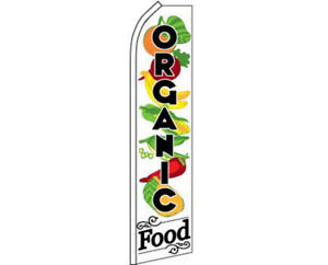 Organic Food White / Black Swooper Super Feather Advertising Flag