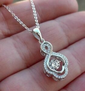 Round Diamond cut Dancing Rhythm IN MOTION Pendant Necklace 925 Sterling Silver
