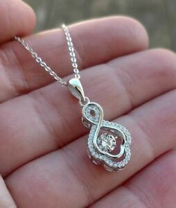 Round Diamond cut Dancing IN MOTION Pendant Necklace Sterling Silver White Gold