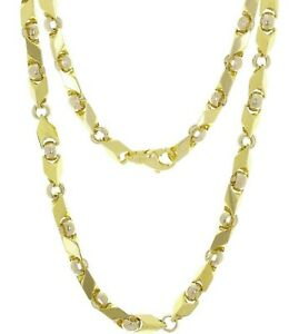 14K Yellow & White Gold Men's Bullet Link Hip Hop Chain Necklace 24