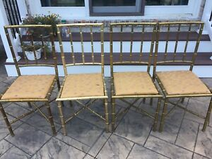 Italian mid century modern Brass-plated Bamboo design Chairs - Set Of 4