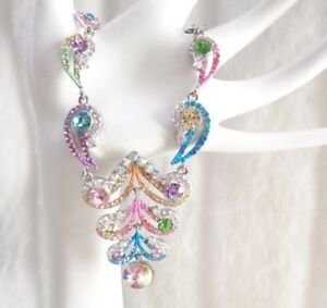 MULTI COLOR STATEMENT CRYSTAL DROP NECKLACE