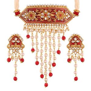 Indian Red pearl bridal Choker Necklace ethnic gold plated traditional set