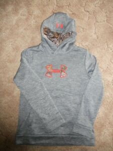 Under Armour Youth Boys Girl Medium Grey & Camo Hoodie Sweatshirt ColdGear NEW