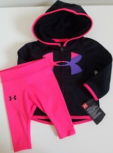 NWT Under Armour Baby Girls Zip Hoodie And Legging Black Size 36M