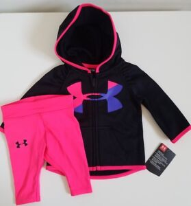 NWT Under Armour Baby Girls Zip Hoodie And Legging Black Size 03M