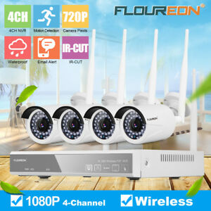 4CH Wireless CCTV 1080P DVR Kit Outdoor WLAN 720P IP Camera Security NVR System