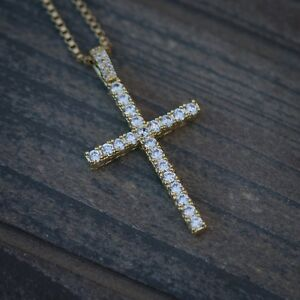 Men's Mini Gold Cross Pendant Necklace Set