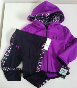 NWT Under Armour Baby Girls Full Zip Hoodie And Legging Purple Size 18M