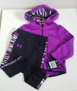 NWT Under Armour Baby Girls Full Zip Hoodie And Legging Purple Size 24M