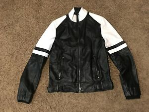 Guess Mens Sz XS Faux Leather Motorcycle Jacket Black Zip Up FREE SHIPPING!