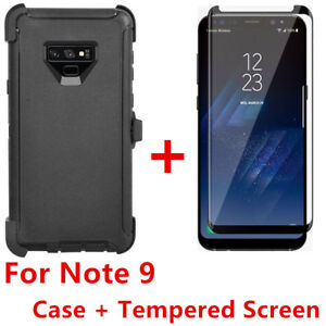 For Samsung Galaxy Note 9 Case WScreen (Belt Clip Fits Otterbox Defender) BLACK