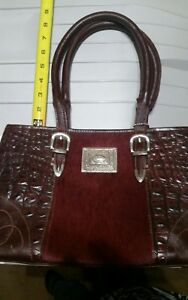 American West Burgundy Leather & Silver Handbag Purse with Hide Hair Accent