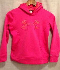 UNDER ARMOUR Storm Girls Youth YSM Pink Sweatshirt Hoodie Camo Bright EUC