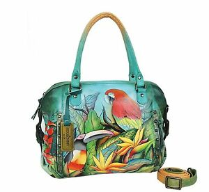 Anuschka Leather Zip Top Medium Satchel Tropical Bliss Jungle Parrot - Retired