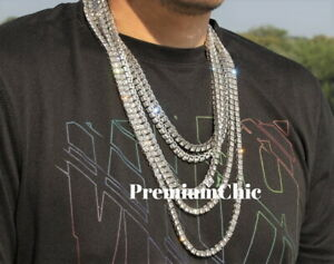 14k White Gold Tennis Chain Choker Clear CZ Stone Mens Hip Hop Bling Necklace