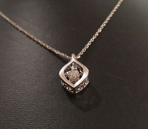 Sterling Silver 925 Floating Dancing Diamond Pendant Necklace W 18