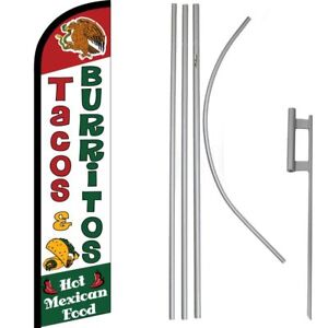 Tacos & Burritos Hot Mexican Food Windless Banner Flag & 16' Flagpole Kit/Ground