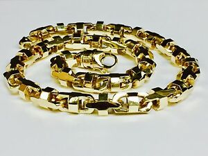 18k Solid Yellow Gold Mariner Anchor Bullet Chain Necklace 10.5 MM 280 grams 24