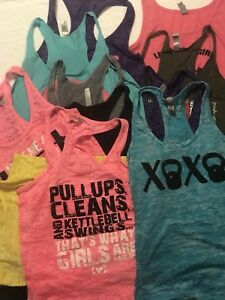 Lot of 22 Crossfit Womens Tank Top Sz S M Racerback Shirts Workout Athletic