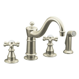 Vibrant Brushed Nickel 2-Pronged Handle Elegant Style Low-Arc Kitchen Faucet