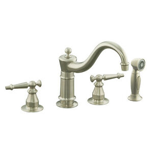 Antique Vibrant Brushed Nickel 2-Handle Low-Arc Durable 2.2-GPM Kitchen Faucet