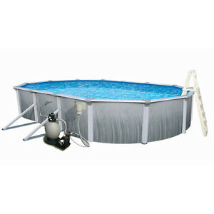 Durable Heavy Duty Blue Martinique 33-ft x 18-ft x 52-in Oval Above-Ground Pool