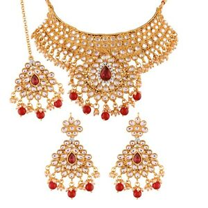 Red Bridal Choker Wedding Jewelry Set New Indian Bollywood New Necklace earrings