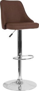 Flash Furniture Chrome And Metal Bar Stool In Brown Fabric DS 8121A BRN F GG