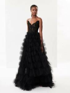 NEW OSCAR DE LA RENTA WOMENS CORDED LACE AND TULLE GOWN