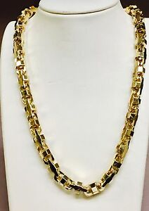 18k Solid Yellow Gold Mariner Anchor Bullet Chain Necklace 10.5 MM 400 grams 34