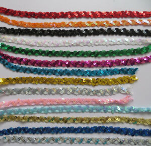 1 MTR Stunning Sequins Wave Paillette Laciness Ribbon Beads Trimming Spangle GBP 2.95