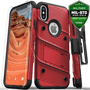iPhone X / Xs / Xs Max / XR case, Zizo BOLT Screen Protector Holster Kickstand