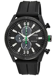 Citizen Eco Drive Men's CTO Green Accents Black Poly Band 43mm Watch CA0665 00E