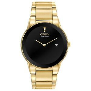 Citizen Eco Drive Axiom Men's Black Dial Gold Tone 40mm Watch AU1062 56E
