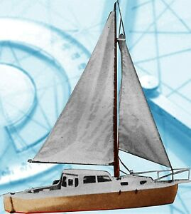 Model Boat Full Size Printed Plans & Notes Single Masted Cruising Yacht 4 RC