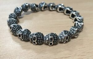 925 Sterling Silver Paved Skulls Bracelet For Men #3581
