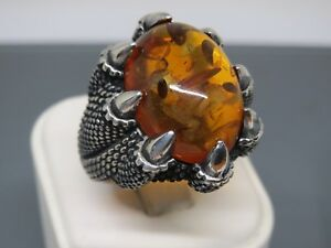 Turkish Handmade Jewelry 925 Sterling Silver Amber Stone Men's Ring Sz 10