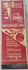 The tower Bowl San Diego California vintage matchbook cover d58 $3.75