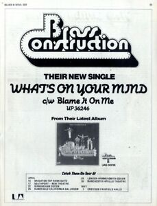 BS223P23 BRASS CONSTRUCTION : WHAT'S ON YOUR MIND SINGLE ADVERT 11X8