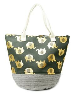 Auliné Collection Elephant Top Handle Round Woven Straw Basket Bucket Tote Bag