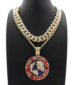 Hip Hop THE WORLD IS YOURS Necklace & 12mm 18