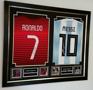 ** Rare Lionel Messi and Cristiano Ronaldo Signed Shirts Autograph Display **