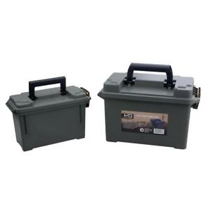 Black Heavy Duty 2-pack Water Resistant Strong Handle Plastic Ammo Storage Boxes